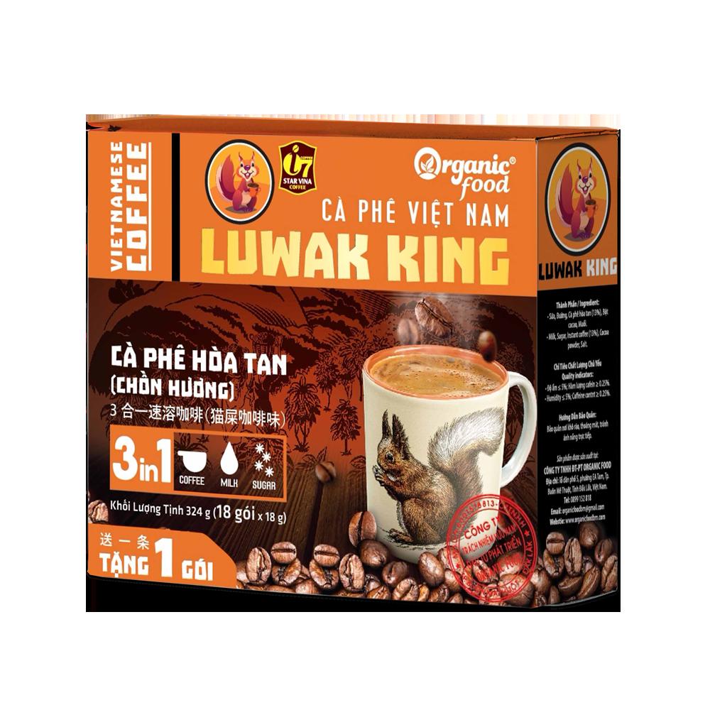Cà phê hòa tan LuwakKing Coffee 3in1 – hộp 16(g) x 18 que